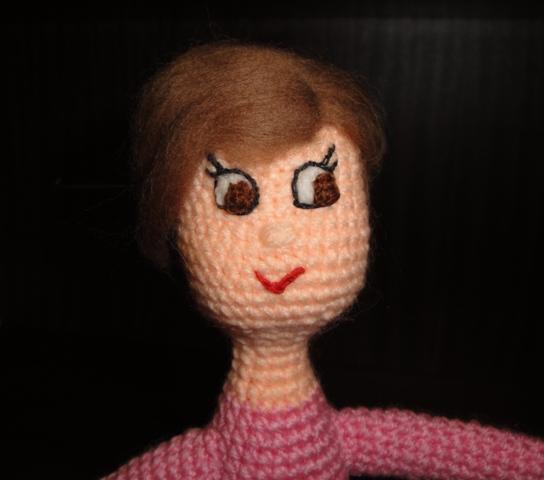 мк прическа для куклы из шерсти для валяния мордочка глаза волосы
