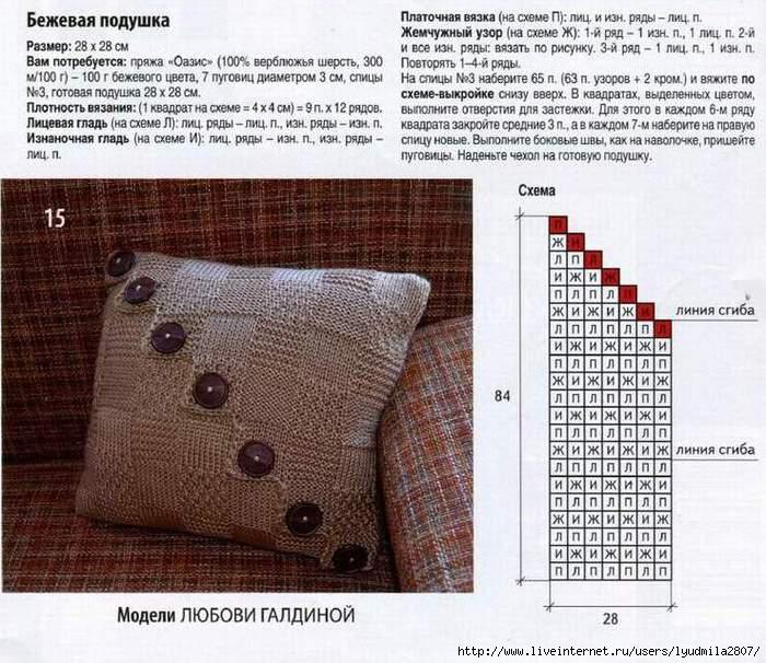 Вязание подушек спицами узоры