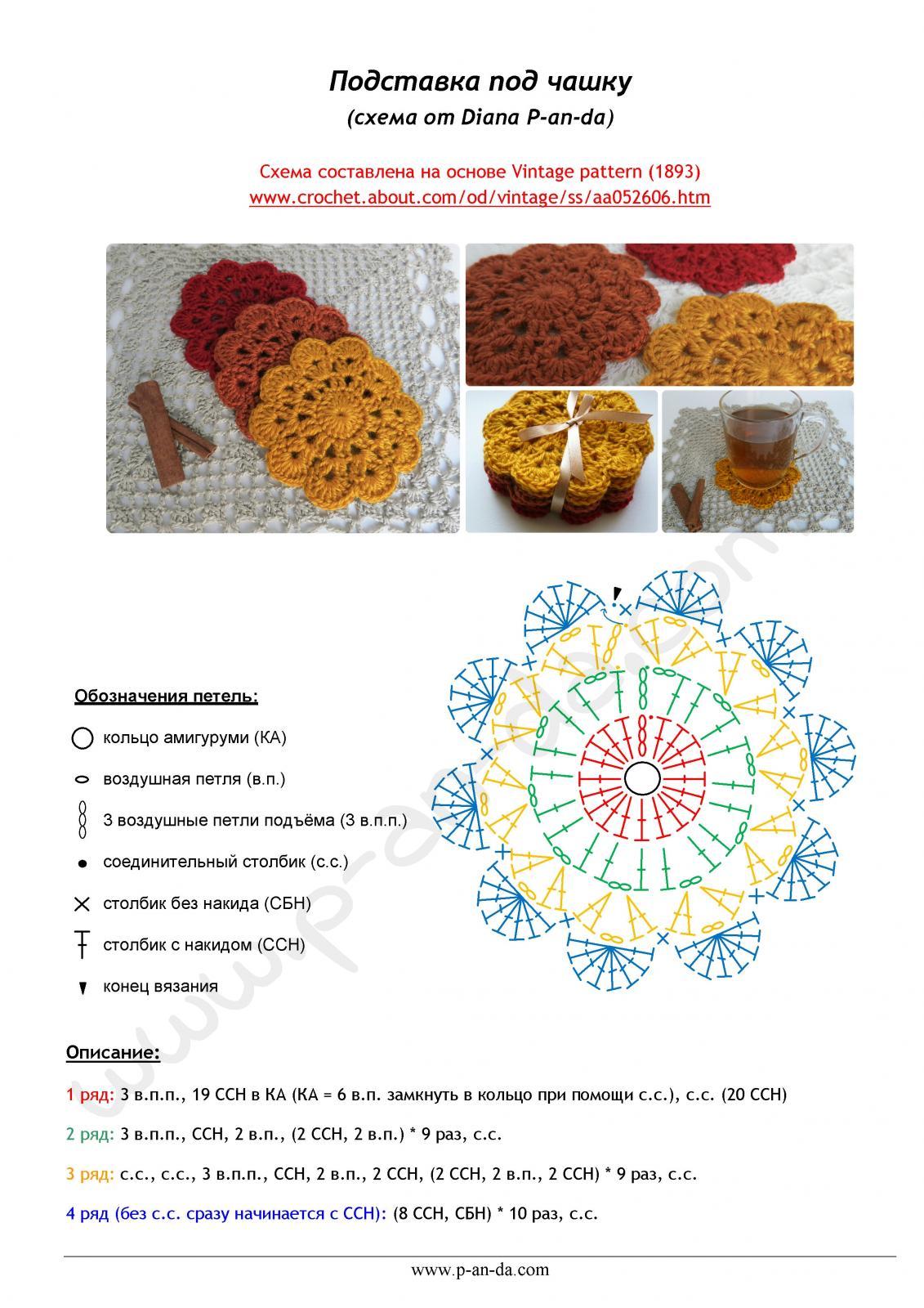 Схемы для вязания подставка под кружку