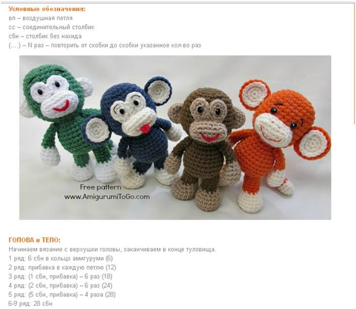 Схемы и описание вязаной обезьянки крючком