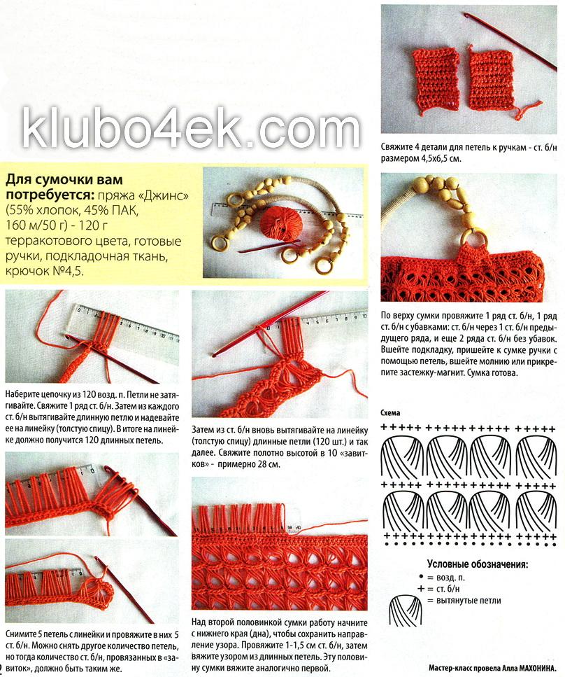 Вязание узоров для сумок