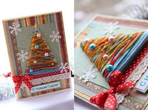 Новогодняя открытка своими руками из старых открыток