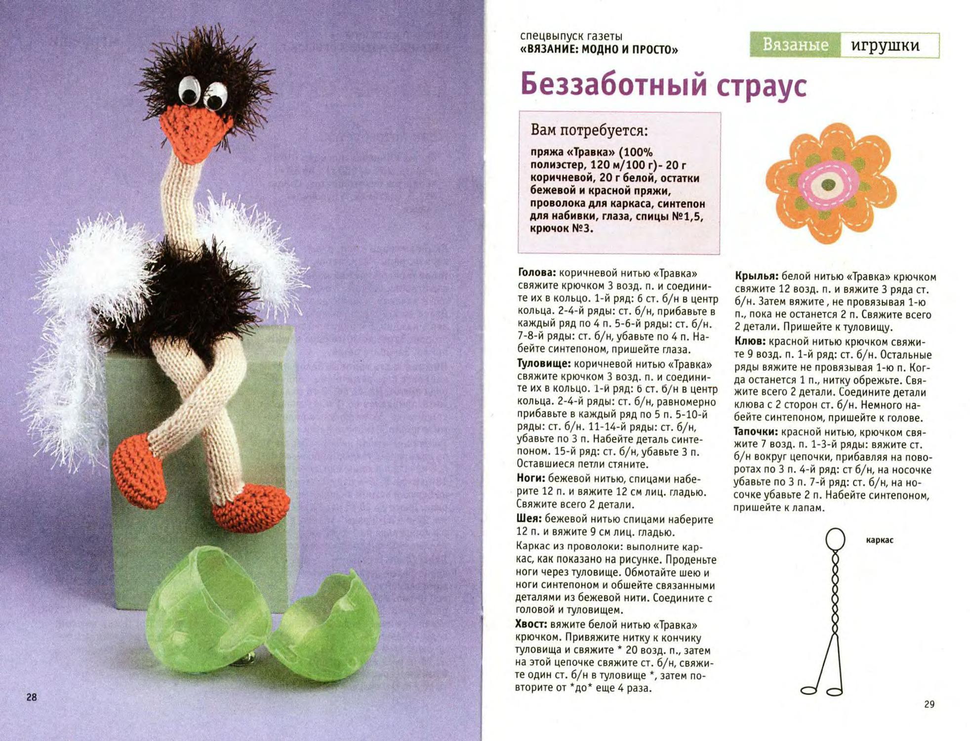 Вязаные игрушки крючком спицами со схемами и описанием