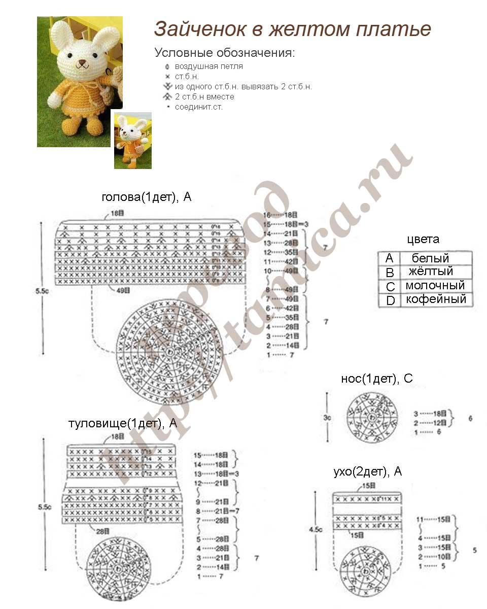 Схема вязания крючком игрушек для начинающих с описанием