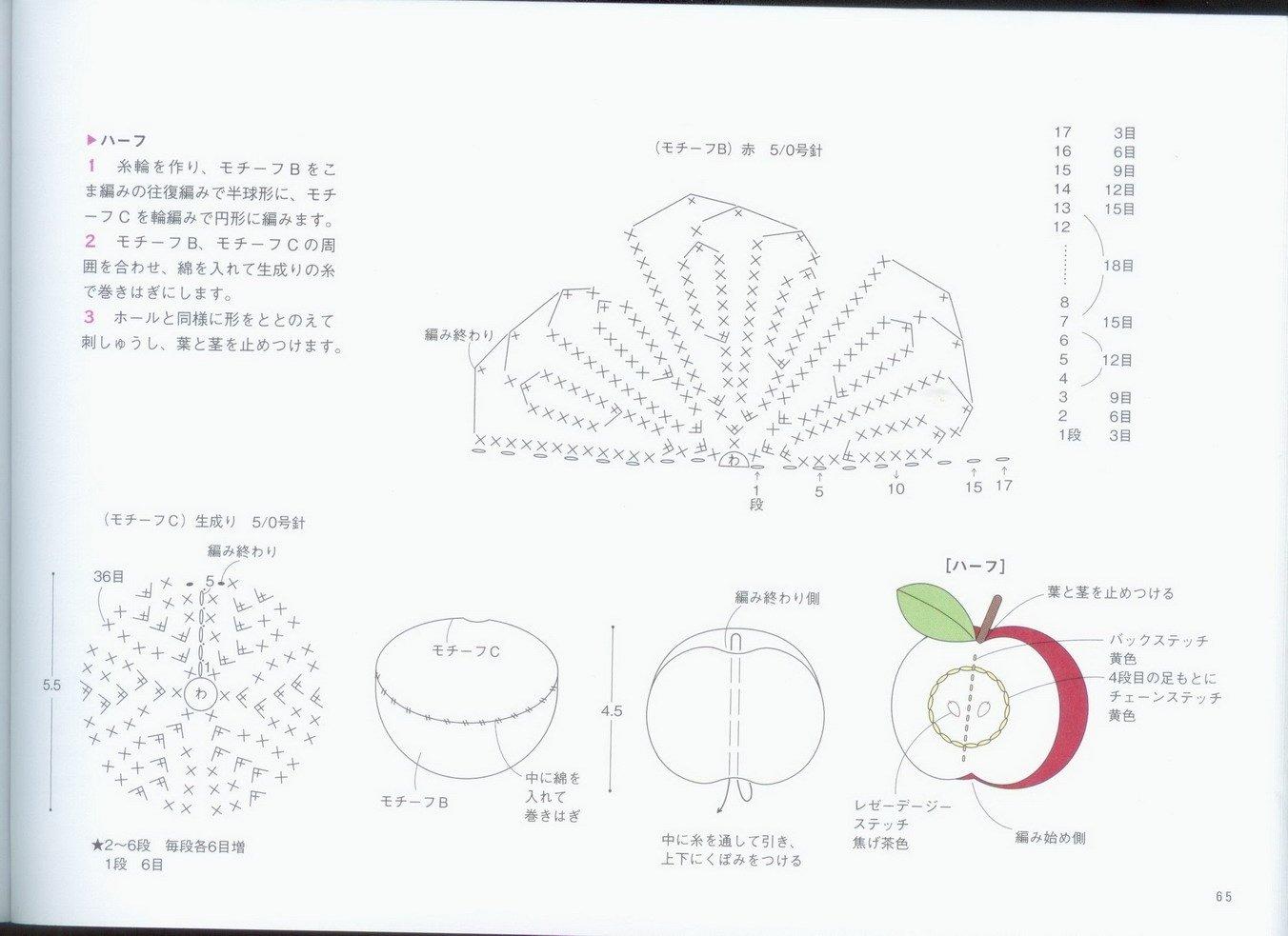 Вязание крючком схема салфетки яблоко