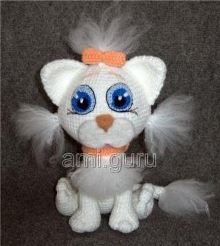 белая элегантная кошка подробный мастер класс вязаные игрушки